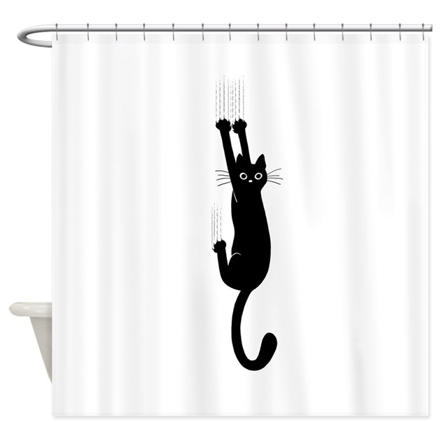 Black Cat Hanging On Shower Curtain By Jennscartoons