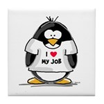 I Love My Job Penguin Tile Coaster