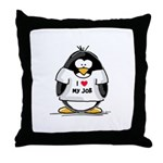 I Love My Job Penguin Throw Pillow
