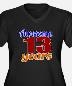 Awesome 13 Y Women's Plus Size V-Neck Dark T-Shirt