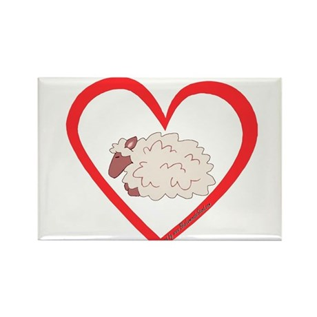 Sheep Heart Rectangle Magnet