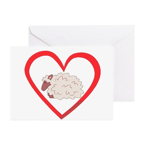 Sheep Heart Greeting Cards (Pk of 10)