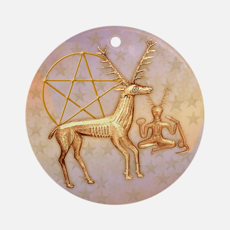 Gold Deer, Pentacle, & Gold Cernunnos #1 Ornam