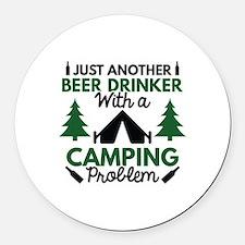 Beer Drinker Camping Round Car Magnet