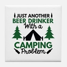 Beer Drinker Camping Tile Coaster