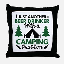 Beer Drinker Camping Throw Pillow
