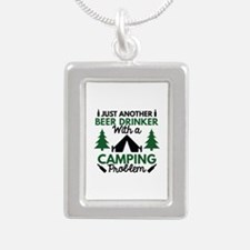 Beer Drinker Camping Silver Portrait Necklace