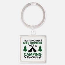 Beer Drinker Camping Square Keychain