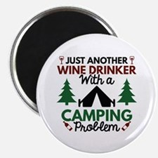 "Wine Drinker Camping 2.25"" Magnet (10 pack)"
