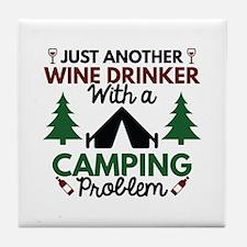 Wine Drinker Camping Tile Coaster