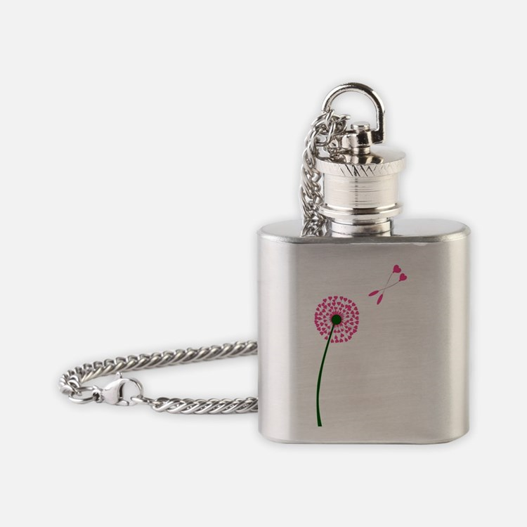 Cute Dandelion seeds blowing in the wind Flask Necklace