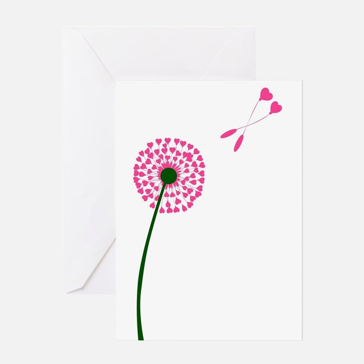 Dandelion Heart Seed Lovers Greeting Cards