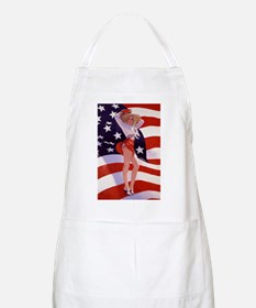 4th Of July Flag Pin Up Lady Apron