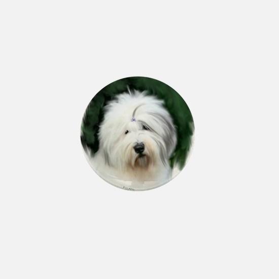 old english sheepdog portrait Mini Button