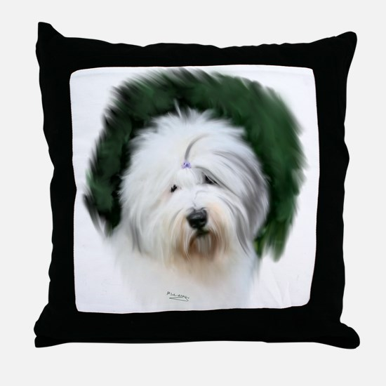 old english sheepdog portrait Throw Pillow