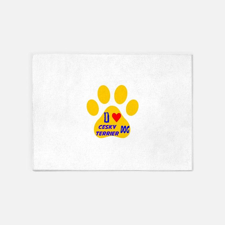I Love Cesky Terrier Dog 5'x7'Area Rug