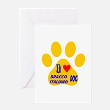I Love Bracco Italiano Dog Greeting Card