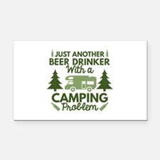 Beer Drinker Camping Rectangle Car Magnet