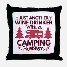 Wine Drinker Camping Throw Pillow