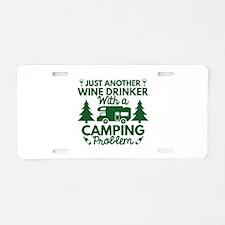 Wine Drinker Camping Aluminum License Plate
