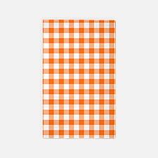 Orange and White Gingham Pattern Area Rug