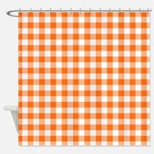 Orange and White Gingham Pattern Shower Curtain