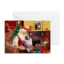 Santa's Aussie (#1) Greeting Cards (Pk of 10)
