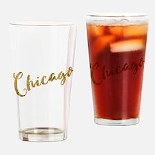 Golden Look Chicago Drinking Glass