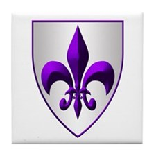 fleur de lis Purple Shield Tile Coaster
