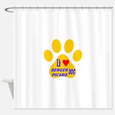 I Love Berger Picard Dog Shower Curtain