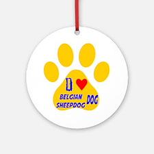 I Love Belgian Sheepdog Dog Round Ornament