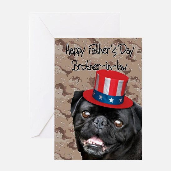 Father's Day Brother-in-Law Pug Greeting Cards