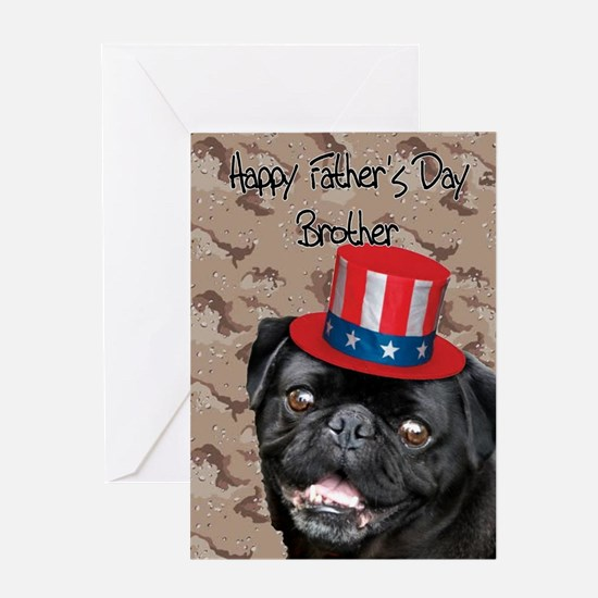 Father's Day Brother Pug Dog Greeting Cards