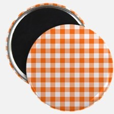 Orange and White Gingham Pattern Magnets