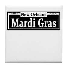 Mardi Gras Street Sign Tile Coaster