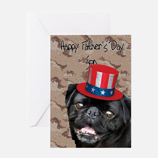 Father's Day Son Pug Dog Greeting Cards