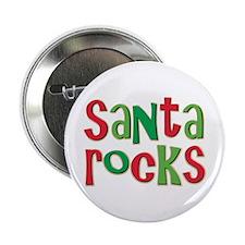 "Santa Rocks Christmas Holiday 2.25"" Button"