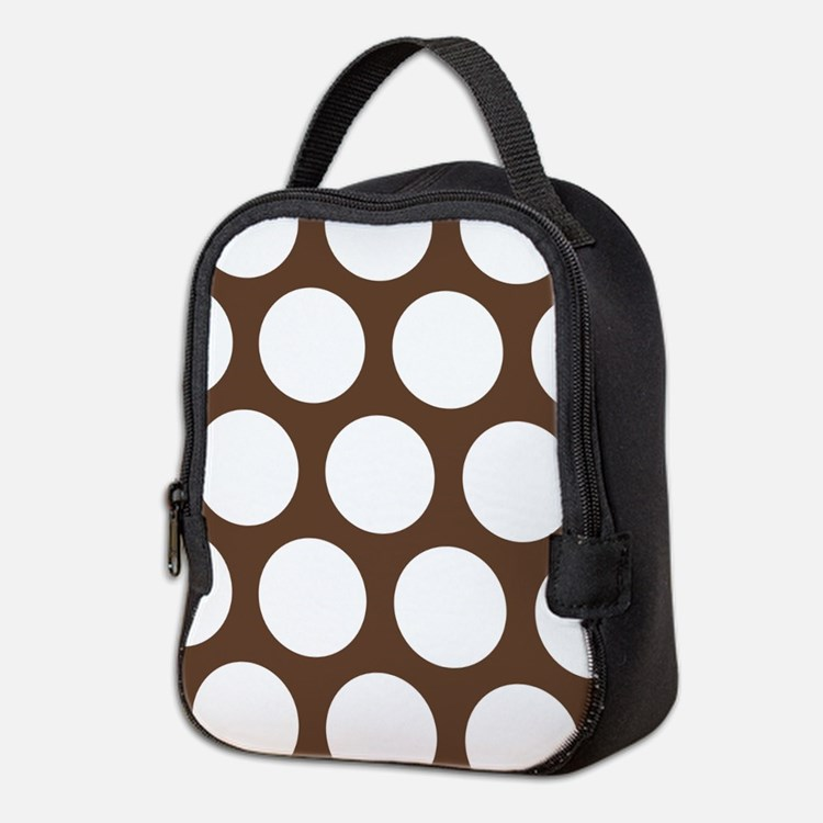 Large Polka Dots: Chocolate Bro Neoprene Lunch Bag