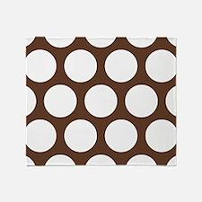 Large Polka Dots: Chocolate Brown Throw Blanket