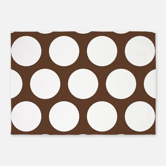 Large Polka Dots: Chocolate Brown 5'x7'Area Rug