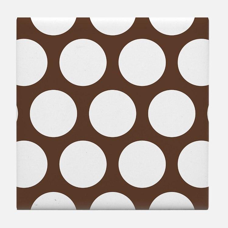 Large Polka Dots: Chocolate Brown Tile Coaster