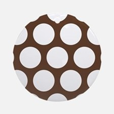 Large Polka Dots: Chocolate Brown Round Ornament