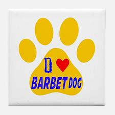 I Love Barbet Dog Tile Coaster