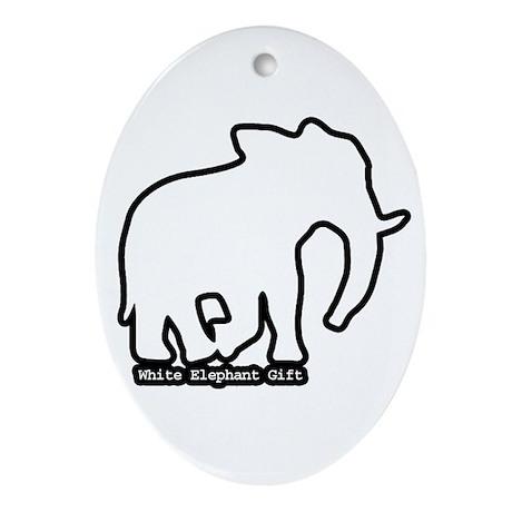 White Elephant Gift Oval Ornament