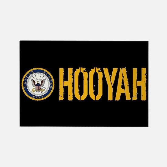 U.S. Navy: Hooyah (Black) Rectangle Magnet
