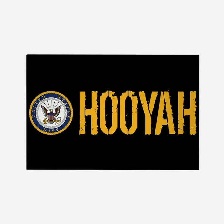 U.S. Navy: Hooyah (Black) Rectangle Magnet
