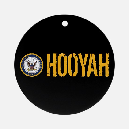 U.S. Navy: Hooyah (Black) Round Ornament