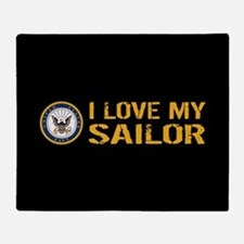 U.S. Navy: I Love My Sailor (Black) Throw Blanket