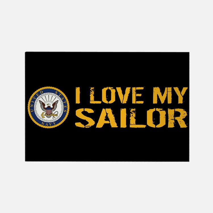 U.S. Navy: I Love My Sailor (Blac Rectangle Magnet