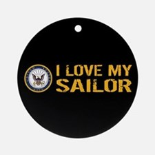 U.S. Navy: I Love My Sailor (Black) Round Ornament